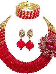 cheap -Women's Layered Jewelry Set - Moon Fashion Include Strands Necklace Red / Green / Hot Pink For Wedding