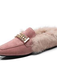 abordables -Femme Peau de mouton Automne hiver Confort Mocassins et Chaussons+D6148 Talon Plat Noir / Gris / Rose