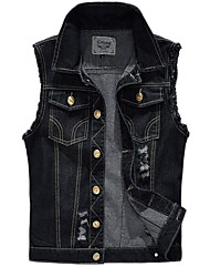 cheap -Men's Vest - Solid Colored Shirt Collar / Sleeveless