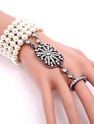 abordables -Gatsby le magnifique Rétro Années 20 Costume Femme Bracelets Bagues Bracelet Esclave Blanc / Noir / Doré Vintage Cosplay Imitation de perle Strass Déguisement d'Halloween