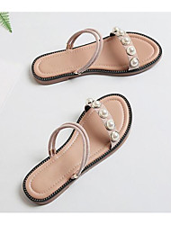 cheap -Women's Shoes Sheepskin Summer Comfort Sandals Flat Heel Light Pink
