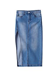 baratos -midi das mulheres saias de uma linha - cor sólida