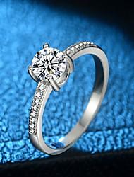 baratos -Mulheres Fashion / Solitário Anel - Pedaço de Platina, Imitações de Diamante Precioso Original, Na moda, Elegante 5 / 6 / 7 Prata Para Formal / Trabalho