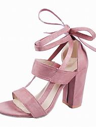 baratos -Mulheres Sapatos Sintéticos Verão Tira no Tornozelo Sandálias Salto Robusto Vermelho / Rosa claro / Vinho
