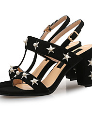 cheap -Women's Shoes Faux Leather Summer Slingback Sandals Chunky Heel Open Toe Imitation Pearl / Buckle Black / Brown