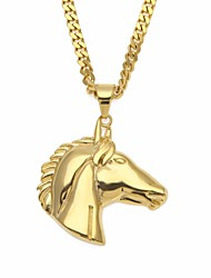 cheap -Men's Cuban Link / Thick Chain Pendant Necklace / Chain Necklace - Stainless Horse Head Vintage, European, Hip-Hop Gold 70 cm Necklace 1pc For Gift, Street
