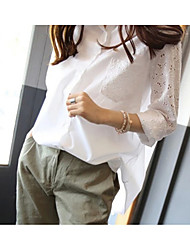 cheap -Women's Cotton Shirt - Solid Colored Shirt Collar