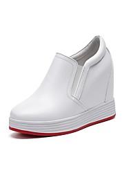 abordables -Femme Chaussures Cuir Eté / Automne Confort Basket Hauteur de semelle compensée Bout rond Blanc / Noir / Argent