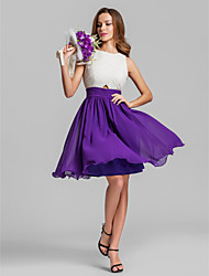 cheap -A-Line Jewel Neck Above Knee Chiffon Bridesmaid Dress with Ruching by LAN TING BRIDE® / Color Block