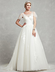 cheap -A-Line Scoop Neck Chapel Train Lace / Tulle Made-To-Measure Wedding Dresses with Beading / Lace by LAN TING BRIDE®
