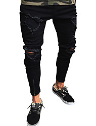 cheap -Men's Street chic / Punk & Gothic Jeans Pants - Solid Colored Hole