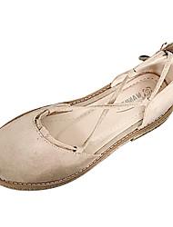 baratos -Mulheres Sapatos Couro Ecológico Verão Tira no Tornozelo Rasos Sem Salto Ponta Redonda Cadarço de Borracha Preto / Amêndoa