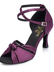 baratos -Mulheres Sapatos de Dança Latina Cetim Têni Flor de Cetim Salto Cubano Sapatos de Dança Roxo