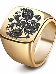 baratos -Homens Fashion Anel - Inoxidável Eagle Estiloso, Europeu 7 / 8 / 9 / 10 / 11 Dourado / Preto / Prata Para Rua Bandagem