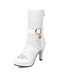 Mujer Zapatos Sintéticos Primavera verano Botas de Moda Botas Tacón Cono Dedo redondo Blanco / Negro / Boda / Fiesta y Noche kM6sFasBZN