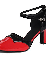 economico -Per donna Scarpe per danza moderna Vernice Sandali / Tacchi Fibbia Tacco cubano Personalizzabile Scarpe da ballo Nero / Rosso