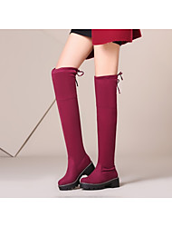 cheap -Women's Shoes Suede Fall & Winter Fashion Boots / Fur Lining Boots Split Sole Round Toe Knee High Boots Black / Gray / Red