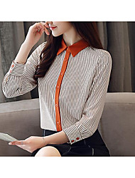 cheap -Women's Business / Basic Shirt - Striped Tassel / Patchwork