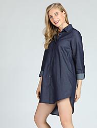 Недорогие -Жен. Большие размеры - Рубашка Рубашечный воротник Тонкие Винтаж / Уличный стиль