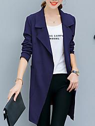 Недорогие -Жен. Пальто V-образный вырез Однотонный