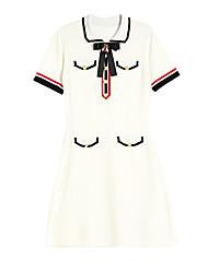 baratos -Mulheres Básico Tricô Vestido - Estampado, Geométrica Acima do Joelho