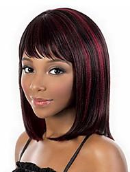 billige -Syntetiske parykker Lige Burgundy Bob frisure Syntetisk hår 14 inch Dame / Afro-amerikansk paryk / Med Bangs Burgundy Paryk Dame Mellemlængde Lågløs Sort / Bourgogne