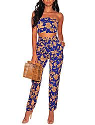 abordables -Mujer Boho / Chic de Calle Conjunto - Floral, Estampado Pantalón