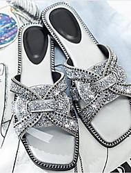 baratos -Mulheres Sapatos Camurça Verão Conforto Chinelos e flip-flops Sem Salto Preto / Prata