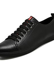 Недорогие -Муж. Свиная кожа Осень Удобная обувь Кеды Белый / Черный