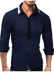 cheap -Men's Work Basic Shirt - Color Block Patchwork / Long Sleeve