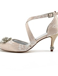 cheap -Women's Shoes Lace Spring & Summer Basic Pump Wedding Shoes Stiletto Heel Pointed Toe Rhinestone / Sparkling Glitter Silver / Champagne / Ivory / Party & Evening