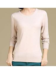 Недорогие -Жен. Шерсть Длинный рукав Тонкие Пуловер - Однотонный
