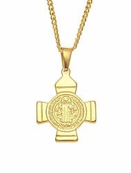 cheap -Men's Stylish / Cuban Link Pendant Necklace / Chain Necklace - Stainless Cross, Faith Unique Design, European, Hip-Hop Gold 60 cm Necklace 1pc For Gift, Street