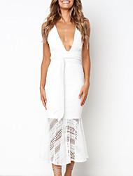 baratos -Mulheres Skinny Sereia Vestido Decote em V Profundo Médio