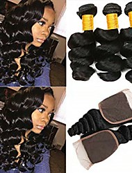 cheap -3 Bundles with Closure Peruvian Hair Loose Wave Human Hair Natural Color Hair Weaves / One Pack Solution / Hair Weft with Closure 8-20 inch Human Hair Weaves 4x4 Closure Life / New Arrival / Hot Sale