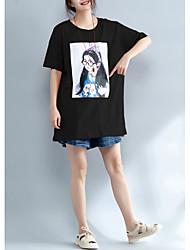 baratos -Mulheres Tamanhos Grandes Camiseta Retrato Algodão