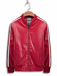 cheap -Men's Sports Leather Jacket - Solid Colored Stand / Long Sleeve