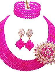 Недорогие -Жен. Многослойность Комплект ювелирных изделий - Австрийские кристаллы MOON Мода Включают Струнные ожерелья Зеленый / Ярко-розовый / Светло-коричневый Назначение Свадьба