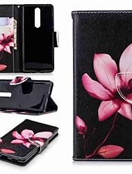 preiswerte -Hülle Für Nokia Nokia 5.1 / Nokia 3.1 Geldbeutel / Kreditkartenfächer / mit Halterung Ganzkörper-Gehäuse Blume Hart PU-Leder für Nokia 8 / Nokia 6 2018 / Nokia 2.1