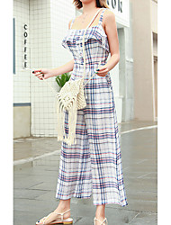 cheap -women's cotton jumpsuit - plaid wide leg strap