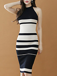 cheap -Women's Going out Slim Sheath Dress High Waist Halter Neck