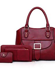 baratos -Mulheres Bolsas PU Conjuntos de saco 3 Pcs Purse Set Cor Única Vermelho / Rosa / Marron