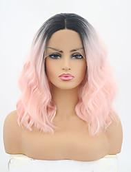 abordables -Peluca Lace Front Sintéticas Mate Rosa Corte Bob Pelo sintético Ajustable / Resistente al Calor Rosa Peluca Mujer Corta Encaje Frontal / Sí