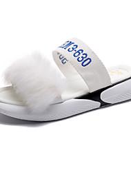 Недорогие -Жен. Обувь Искусственный мех / Полиуретан Лето Босоножки Сандалии На плоской подошве Белый / Черный / Лозунг