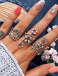 cheap -Women's Vintage Style Hollow Out Open Cuff Ring Ring Set - Alloy Leaf, Flower Vintage, Bohemian Silver For Daily Street / 4pcs