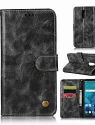 Недорогие -Кейс для Назначение LG LG Q7 Кошелек / Бумажник для карт / со стендом Чехол Однотонный Твердый Кожа PU для LG Q7