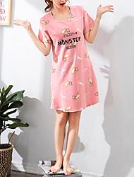cheap -Women's Round Neck Suits Pajamas Letter