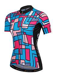 cheap -Nuckily Women's Short Sleeve Cycling Jersey - Blue+Pink Patchwork Bike Sweatshirt Top, Quick Dry Breathability Soft, Summer, Spandex Polyster Milk Fiber / SBS Zipper / Race Fit