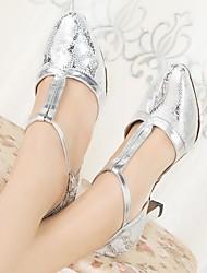 baratos -Mulheres Sapatos de Dança Moderna Couro Ecológico Salto Salto Grosso Sapatos de Dança Prateado