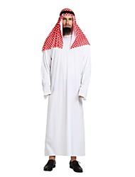 Недорогие -арабский Костюм Старшая школа Муж. Хэллоуин Хэллоуин Карнавал Маскарад Фестиваль / праздник Полиэстер Белый Карнавальные костюмы Однотонный Halloween